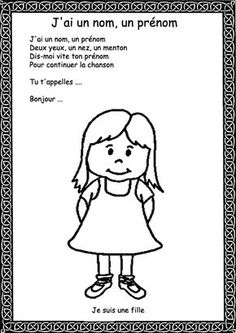 Comptine illustrée pour se présenter. French Learning Books, French Teaching Resources, French Language Learning, Preschool Writing, Preschool Songs, Kids Songs, Teaching French Immersion, French Poems, French Worksheets