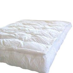 """MARRIKAS Pillow Top Goose Down Feather Bed Featherbed CAL KING by Marrikas. $199.99. 240TC cotton shell covering. 5"""" base filled with 18 pounds of small white feathers  down. Washable cotton feather bed covers sold separately. 1"""" attached pillow top filled with 21 ounces white down. Hypo Allergenic. A beautiful CAL KING feather bed, 72x84. An awesome feather bed with an oversized 5"""" side wall baffle boxed based filled with 95% SMALL white goose feathers and 5% fluffy white ..."""