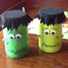 Frankenstein for halloween decor! Step 1 paint inside of jar green Step 2 add wiggly eyes w hot glue Step 3 add nuts w hot glue Step 4 using a permanent marker add eye brows, mouth, & scar Step 5 hair i used a scrap of black corduroy & cut it an inch larger than the lid in a circle shape. You could also paint it black.