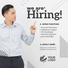 Design created with PosterMyWall We Are Hiring, Jobs Hiring, Hiring Poster, Account Executive, Instagram Post Template, Minimalist Wallpaper, Job Ads, Social Media Pages, Rap Music