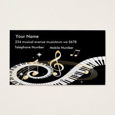Music notes gold champaign minimal foxier business card business piano keys and golden music notes business card reheart Images