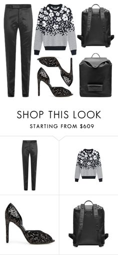 """""""Black Floral"""" by cherieaustin ❤ liked on Polyvore featuring Maison Margiela, Dsquared2 and La Perla"""