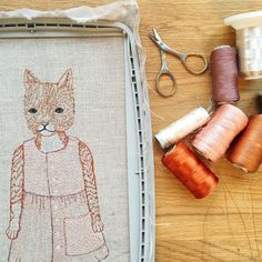 Process shot of Goban, Fog Linen's @foglinenyumiko studio cat! One of two pocket dolls we are making special editions for our upcoming event with Fog Linen in Japan!