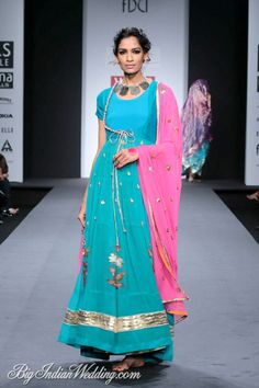 Anupamaa by Anupama Dayal at Wills Lifestyle India Fashion Week 2014 turquoise blue anarkali India Fashion Week, Asian Fashion, Indian Attire, Indian Wear, Indian Dresses, Indian Outfits, Western Outfits, Women's Dresses, Wills Lifestyle