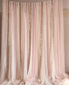 Pink white Lace fabric Gold Sparkle photobooth backdrop Wedding ceremony stage,birthday,baby shower backdrop party curtain nursery decor by SilverDrawer on Etsy