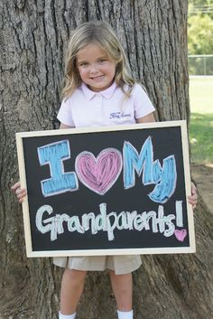 Cute idea for grandparent's day! Use sign to take pictures with grandparents OR take pictures of the child for a craft project to be made for grandparents.