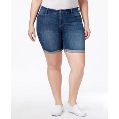 Celebrity Pink Trendy Plus Size Denim Bermuda Shorts ($49) ❤ liked on Polyvore featuring shorts, darkest night, celebrity pink, celebrity pink shorts, plus size bermuda shorts, denim bermuda shorts and cuffed shorts
