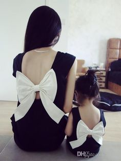 Hug Me Mother Daughter Clothes 2016 Summer Fashion Lace Bow Sleeveless Vest Dress Mother and Daughter Outfits MK-624