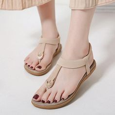 382214362 Comfortable Elastic Clip Toe Flat Beach Sandals