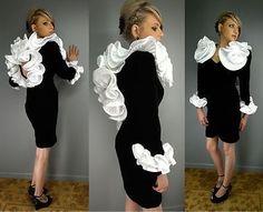 Avant Garde Origami Lillie Rubin Bombshell White Black Velvet Vtg 80s Dress 6