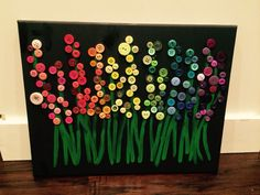 Rainbow button flowers on black canvas Xmas Crafts, Fall Crafts, Diy And Crafts, Crafts For Kids, Arts And Crafts, Paper Crafts, Stick Crafts, Upcycled Crafts, Summer Crafts