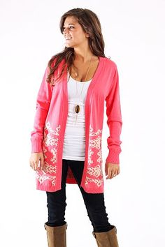 Day And Night Cardigan, coral $47 www.themintjulepboutique.com