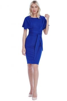 Fabulous royal blue midi dress with kimono sleeves and fabric belt. Inject some colour in your wardrobe. Super flattering day to evening dress. Midi Dress With Sleeves, Peplum Dress, Royal Blue Midi Dress, Blue Kimono, Effortless Chic, Signature Collection, Occasion Wear, Boutique, Evening Dresses