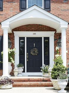 Front door colors red brick home front entry before - Exterior paint that lasts forever ...