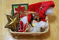 /Montessori Christmas Activities for Babies - Christmas Treasure Basket. Montessori Toddler, Montessori Activities, Infant Activities, Christmas Baskets, Christmas Baby, Christmas Stockings, Treasure Basket, 3 Year Olds, Christmas Activities