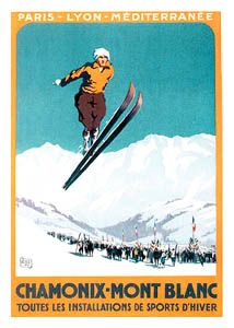 CHAMONIX SKI JUMP Vintage Skiing Poster Reprint - 1924 Winter Olympics, Chamonix-Mont Blanc by Charles Hallo.