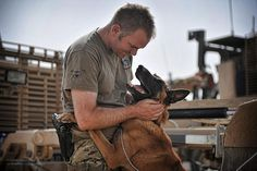 A dog handler with 1 Mechanized Brigade is pictured with a Military Working Dog in Helmand Afghanistan.