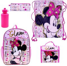 Disney's Minnie Mouse Glam 5 piece Backpack set at Kohls Christmas Holidays, Christmas Gifts, Toddler Backpack, Toddler Girl Style, Lunch Tote, Glam Girl, Travel With Kids, Holiday Crafts, Kids Toys