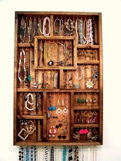 homemade jewelry organizer | Jewelry Organizer Earring Holder Handmade by barbwireandbarnwood