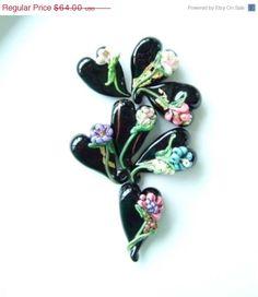 June Sale Monte Verdi Lampwork Beads- SRA - Handful of Hearts- Black- Handmade Florals - Made To Order