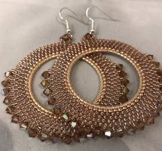 Items similar to Rose gold and topaz beaded crystal hoop earrings on Etsy These big shimmering topaz hoop earrings are bursting with Swarovski crystal beads. Jewelry Design Earrings, Seed Bead Earrings, Beaded Earrings, Beaded Jewelry, Beaded Bracelets, Hoop Earrings, Topaz Earrings, Seashell Jewelry, Jewellery