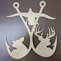 Hooked on the outdoors 2- Original and Exclusive design! Easter, spring, summer Doorhanger for the deer or duck hunter, bass fisherman; fishing, hunting decor  - deer, mallard, Buck, doe unfinished wall and door hanger wholesale, unfinished wood letters and cutouts #doorhangers #wholesaledoorhangers #ccspec