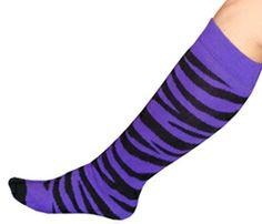 Purple/Black Animal Print Knee Socks  Made in the USA