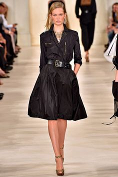 Black Dress with an Edge - Ralph Lauren Spring 2015 RTW - Runway - Vogue