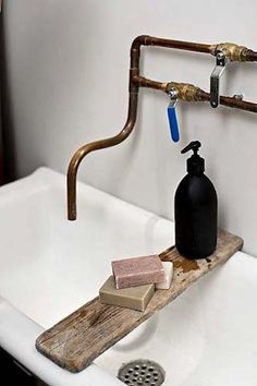 Copper pipe and gas shut-off valve faucet; pair it with a wrecking yard sink.