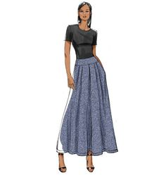 V9090 -- love the shaped waistband--this would drop the fullness away from the waistline, avoiding the potato-sack-cinched-in-the-middle look that too often happens with fuller skirts