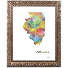 Trademark Fine Art Illinois State Map-1 inch Canvas Art by Marlene Watson, Gold Ornate Frame, Size: 11 x 14