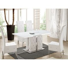 Axara Extendable Dining Table In White And Grey High Gloss More