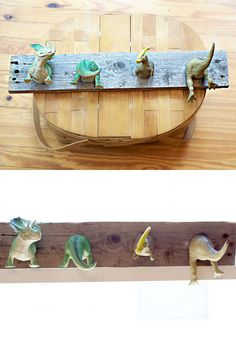 Reclaimed Wood Pallet Wood Dinosaur Hooks Nursery Child's Room on Etsy, Sold