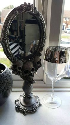 Skulls and roses standing mirror, haunting glam decor...