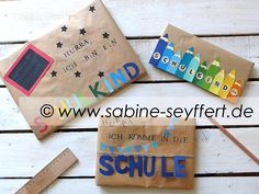 DIY Bastelideen zum Schulstart: Geschenke zur Einschulung schön verpackt Diy Presents, Diy Desk, Back To School, Kindergarten, Coin Purse, Birthday, Creative, Party, Allg