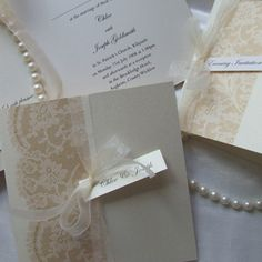 Antique Lace - Handmade vintage style Wedding Invitations / Stationery from Wicklow Ireland