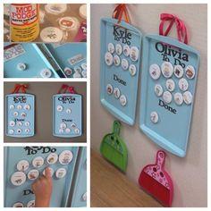 Leer je kinderen om klusjes te doen in huis met deze coole magnetische klusjesborden! Super ideetje voor de kinderen!