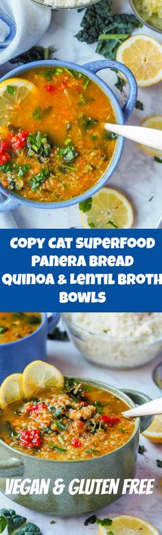 Healthy superfood copycat Panera broth bowl with lentils, quinoa, kale and cauliflower makes for the most comforting and nutritious one pot meal. Gluten Free and can be made Vegan. One of my new favorite recipes | avocadopesto.com