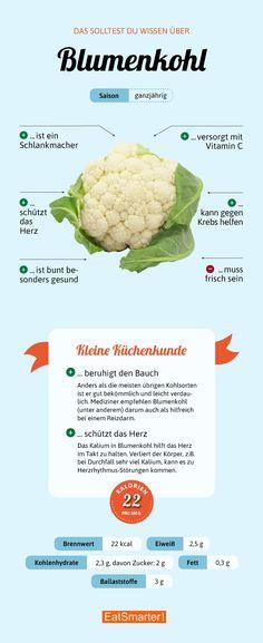 Alles was du über Blumenkohl wissen solltest | eatsmarter.de #blumenkohl #kohl #ernährung #infografik #gesunderezepte #gesundernähren #gesundheit #gemüse #saisonal #regional