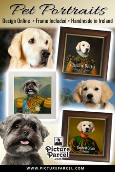 ☘️☘️☘️ Pet Portraits designed and made in Galway, Ireland. Shipped worldwide. ☘️☘️☘️ Our dog and cat portraits are unique to us. One of the largest selection of pet portraits online. ❤️ Customers Love our online Pet portrait Maker. ❤️ Made on ceramics - come with real-wood frame. ❤️ See why we are one of the most popular pet portraitures online.  ⭐⭐⭐⭐⭐ 5-Star products and customer service. Portrait Pictures, Pet Portraits, Galway Ireland, Old Paintings, Tile Art, Real Wood, Customer Service, Your Pet, Dog Cat