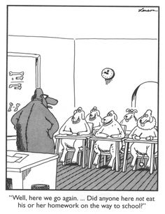 Gary larson, cartoon, dog, eat homework