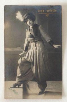 Orientalist Edwardian Lady in Rare Risqué Harem Pants Outfit Postcard. Belgium. In 1911, Paul Poiret introduced his jupe-culotte or harem pants