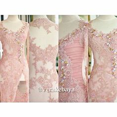 No photo description available. Kebaya Pink, Vera Kebaya, Kebaya Lace, Kebaya Dress, Batik Kebaya, Kebaya Muslim, Kebaya Hijab, Kebaya Brokat, Dress Brokat