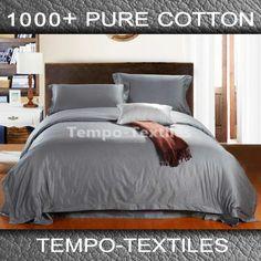 Quality-1000TC-Egyptian-Cotton-Collection-Doona-Duvet-Quilt-Cover-Set-9-Colours