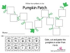 Here's a freebie beginner math skill! Color, cut, and paste the pumpkins in order 1 to 10.Thanks for your feedback and support.By: In the Math Lab