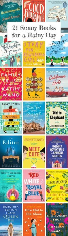 21 Sunny Books for a Rainy Day These books will make you happy and brighten your day. Best Books To Read, I Love Books, Great Books, My Books, Teen Books, Book Suggestions, Book Recommendations, Book Club Books, Book Nerd