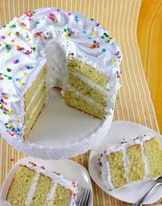 SugaryWinzy Lemon Chiffon Cake - A light non-butter based cake with meringue icing. Lemon Chiffon Cake, Meringue Frosting, Light Cakes, Traditional Cakes, Cake Ingredients, Piece Of Cakes, How To Make Cake, Cake Designs, Vanilla Cake