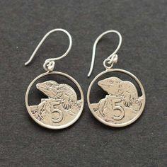 REally cool NZ Tuatara Earrings - Jewellery - Kiwiana & NZ Gift Shop Kiwiana, All Things New, Online Gift Shop, Lucky Charm, Animal Jewelry, New Zealand, Bling, Drop Earrings, Stuff To Buy