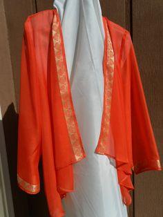 Bright orange sheer sari fabric jacket by GoBabyScarves on Etsy, $85.00