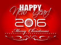 2016 anos novos felizes e cartão ou fundo do Feliz Natal do cartão Fotografia de Stock